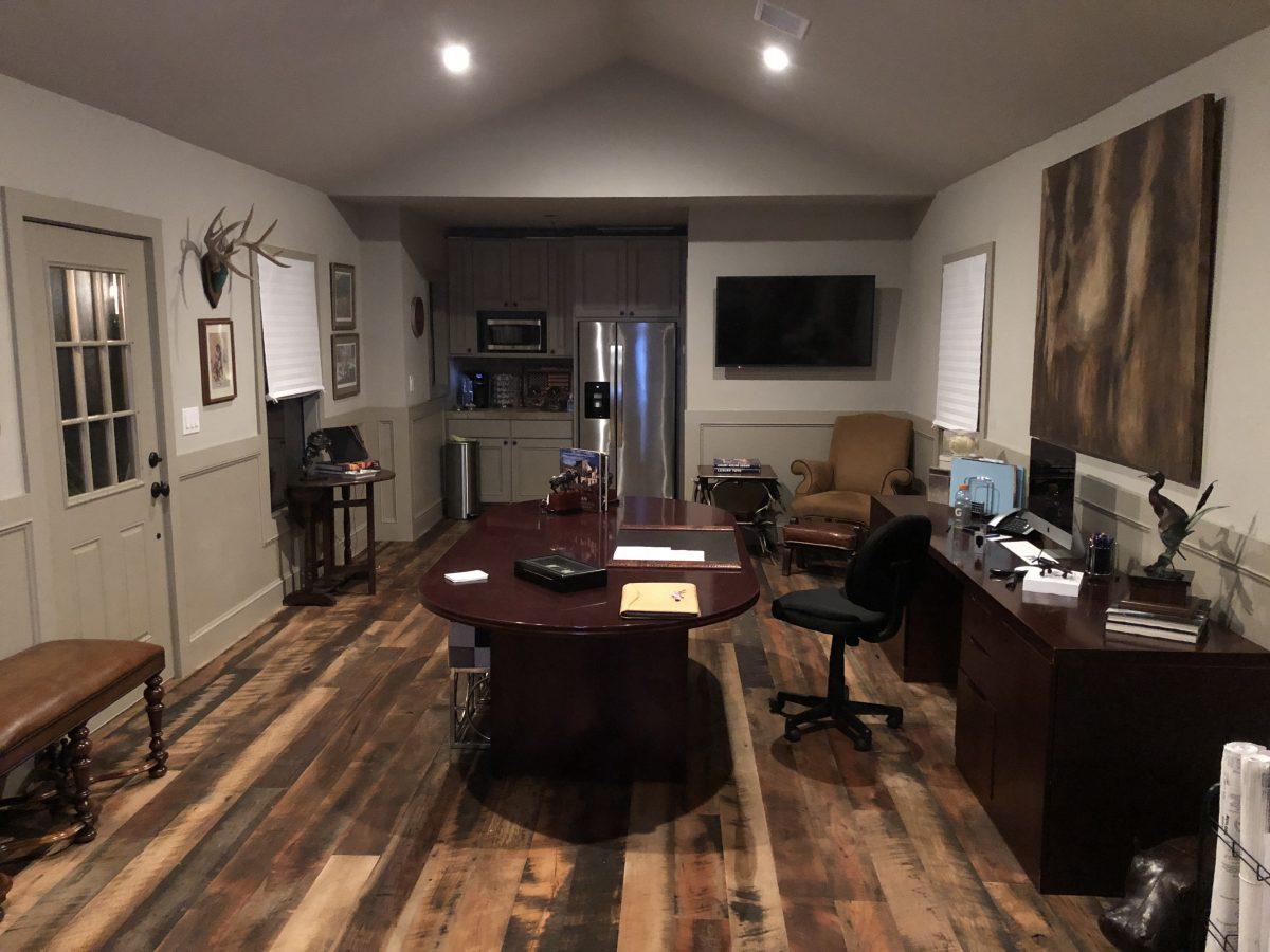 Reclaimed skip planed wide plank wood flooring